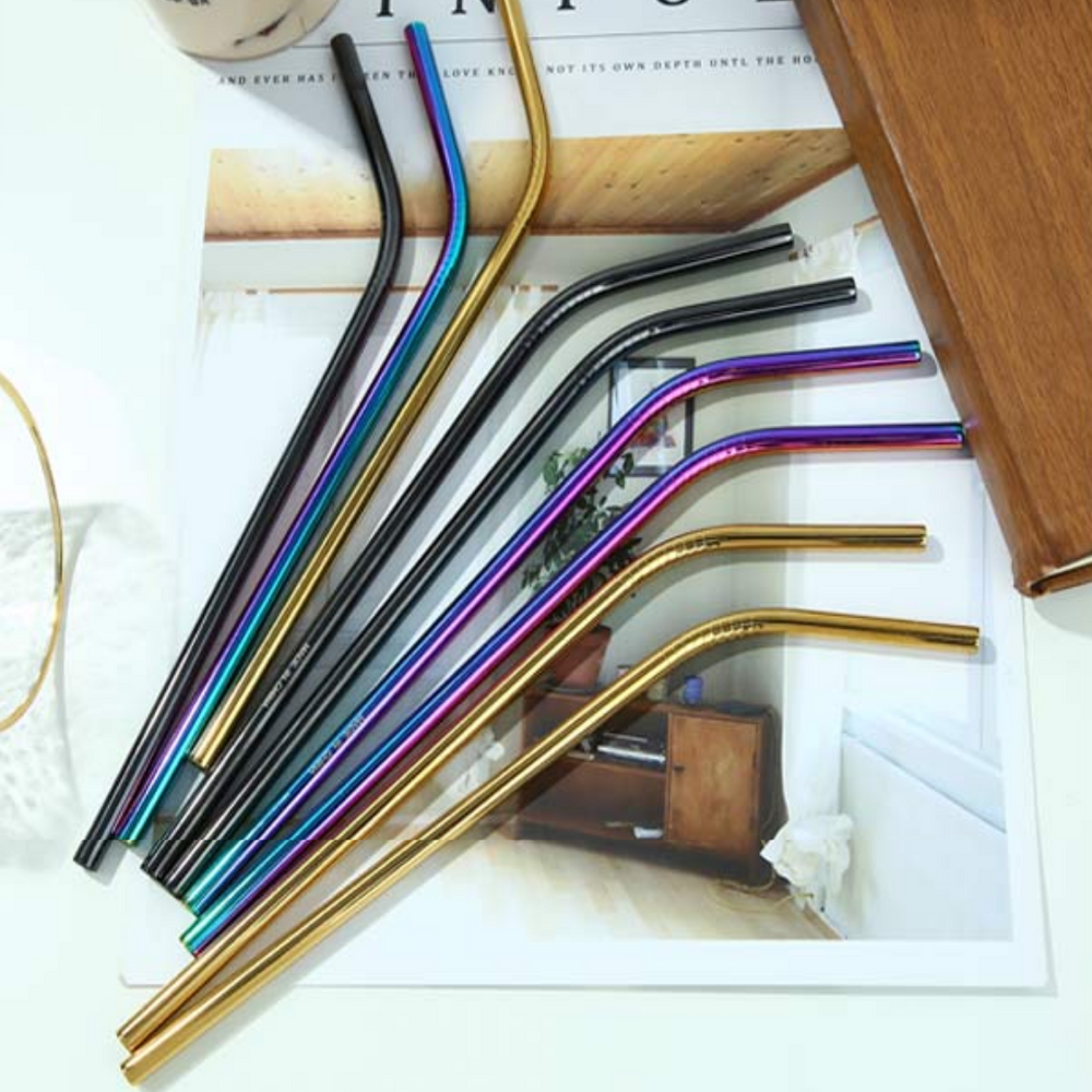Load image into Gallery viewer, MINISO Reuseable Stainless Steel Straws Set of 3 with Cleaning Brush, Random Colour