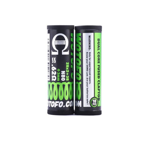 Wotofo Pre-Built Coils 0.62 Ohm Dual Core Fused Clapton - vaperstore.co.uk