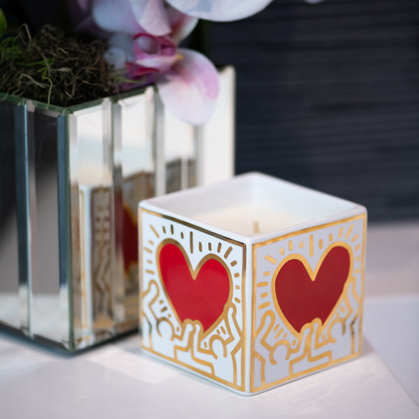 Keith Haring Red Heart with Gold Square Candle