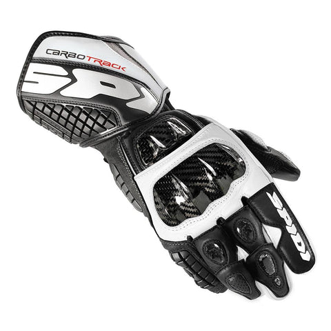 Spidi Carbo Track Leather Gloves-Blk/White - Midwest Moto Shop