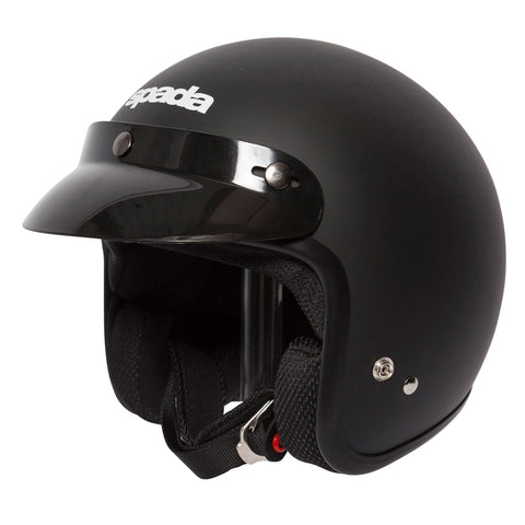 Spada Helmet Open Face Classic Plain Matt Black - Midwest Moto Shop