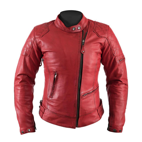 Helstons Ladies KS70 Red Leather Jacket - Midwest Moto Shop