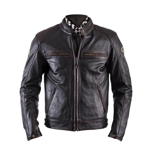 Helstons Track Oldies Brown Leather Jacket - Midwest Moto Shop