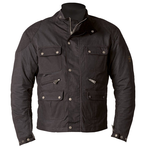 Helstons Hunt Waxed Cotton Black Jacket - Midwest Moto Shop