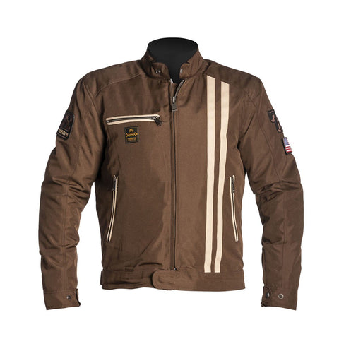 Helstons Shelby Cobra Brown Beige Textile Jacket - Midwest Moto Shop