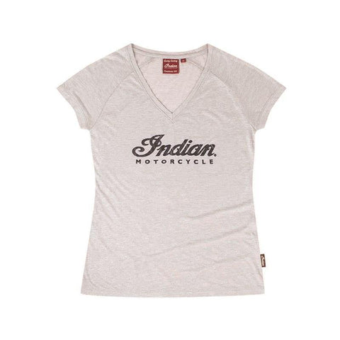 Indian Motorcycle Women's V-Neck Script Logo Sparkle T-Shirt, Silver