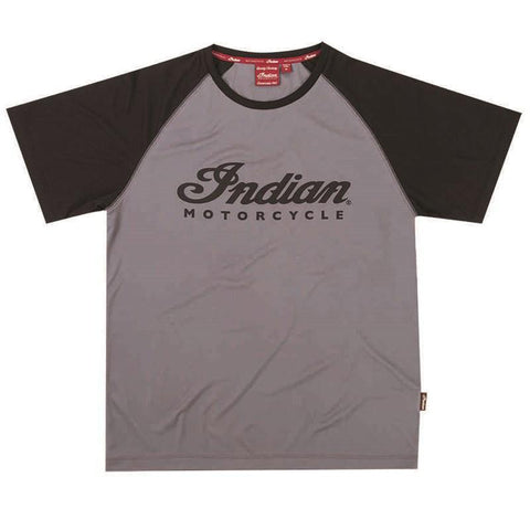 Indian Motorcycle Men's Short-Sleeve Performance Riding T-Shirt with UV Protection, Gray