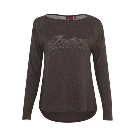 Indian Motorcycle Women's Long-Sleeve T-Shirt with Diamante Logo, Charcoal