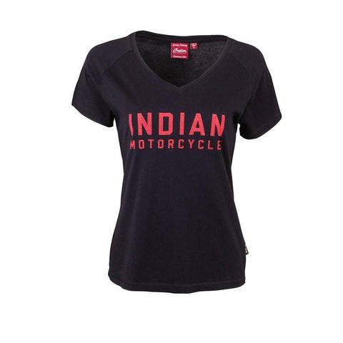 Indian Motorcycle Women's T-Shirt with Diamantes Logo, Black