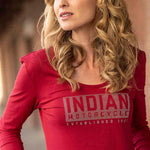 Indian Motorcycle Women Long-Sleeve Logo T-Shirt with Diamantes, Red