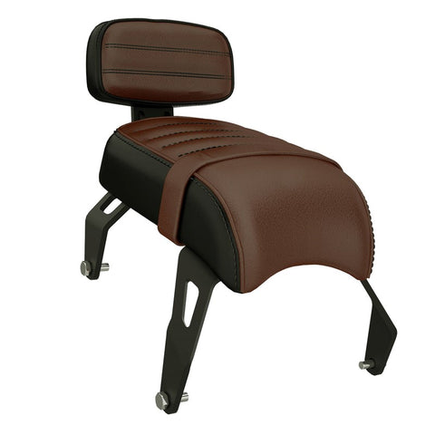 Indian Scout Bobber Genuine Leather Passenger Seat with Sissy Bar, Brown