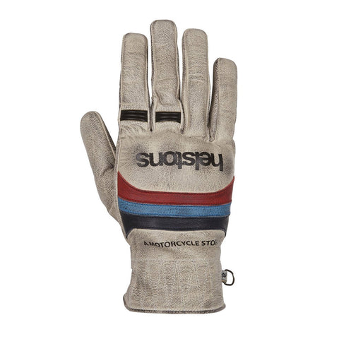 Helstons Mora Beige/Blue/Red Leather Summer Glove - Midwest Moto Shop
