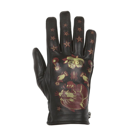 Helstons Ladies Panther Black/Red Summer Glove - Midwest Moto Shop