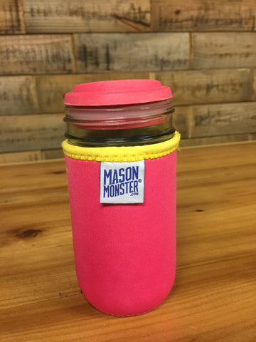 Eco Insulator™ - Jelly Jar - Reversible (Hot Pink / Bright Blue with Yellow Binding & Stitching)