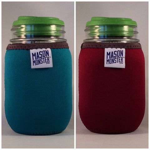 Eco Insulator™ - Pint - Reversible (Teal / Burgundy with Gray Binding & Stitching)