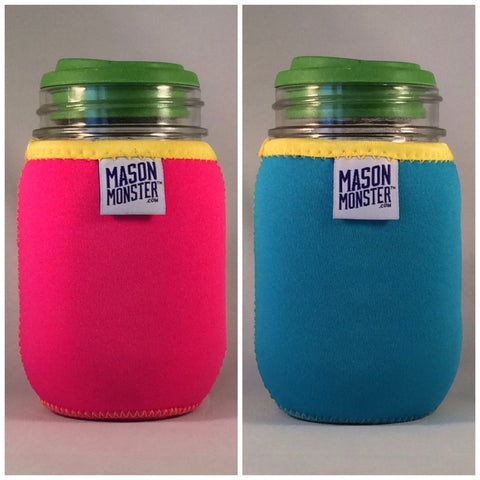 "Eco Insulator™ - Pint - Reversible (Hot Pink / Light Blue with Yellow Binding & Stitching) - ""The Beach Ball"""