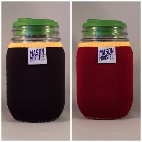 Eco Insulator™ - Pint - Reversible (Black / Burgundy with Gold Binding & Stitching)