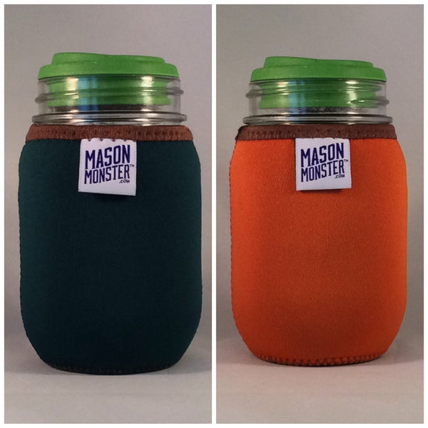 Eco Insulator™ - Pint - Reversible (Dark Green / Orange with Brown Binding & Stitching)