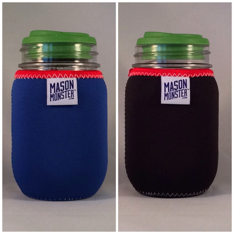Eco Insulator™ - Pint - Reversible (Blue / Black with Red Binding & White Stitching)