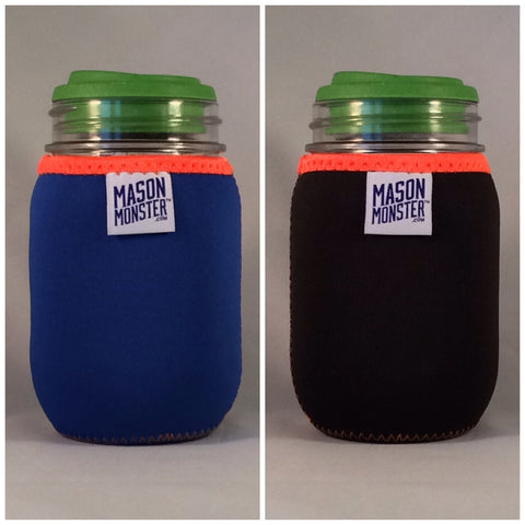 Eco Insulator™ - Pint - Reversible (Blue / Black with Orange Binding & Stitching)