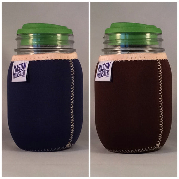 Eco Insulator™ - Pint - Reversible (Navy Blue / Brown with Tan Binding & Stitching)