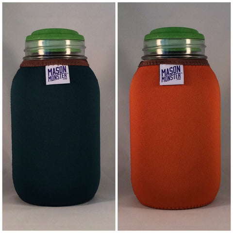 Eco Insulator™ - Quart - Reversible (Dark Green / Orange with Brown Binding & Stitching)