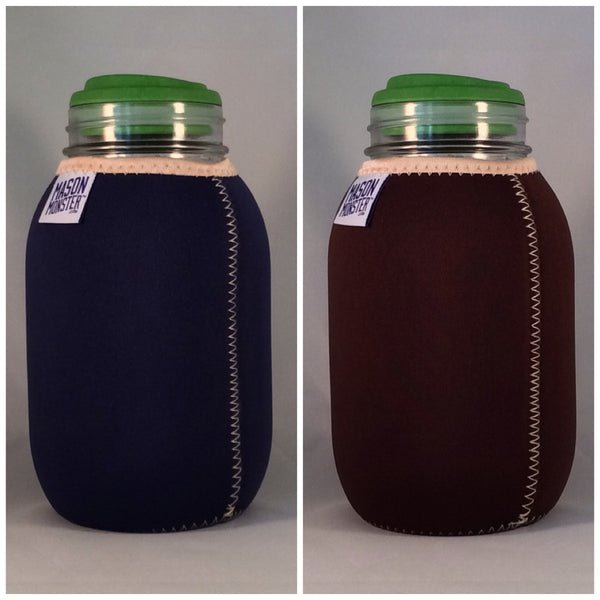 Eco Insulator™ - Quart - Reversible (Navy Blue / Brown with Tan Binding & Stitching)