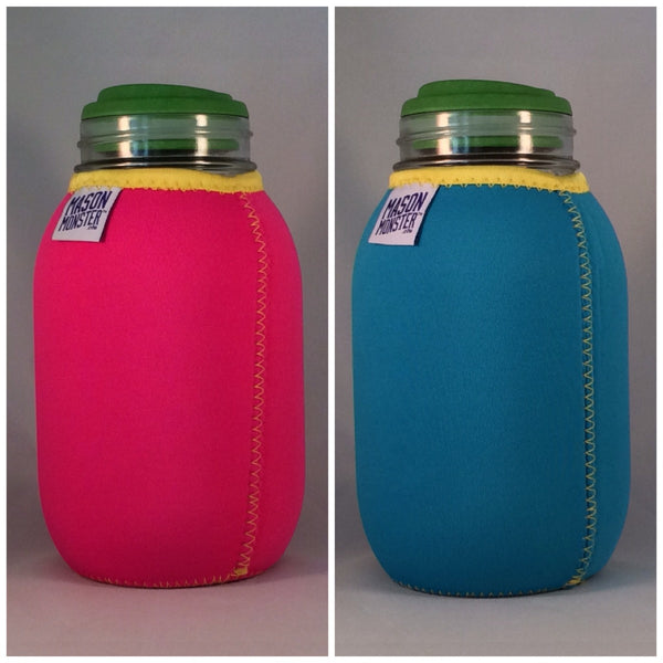 "Eco Insulator™ - Quart - Reversible (Hot Pink / Light Blue with Yellow Binding & Stitching) - ""The Beach Ball"""
