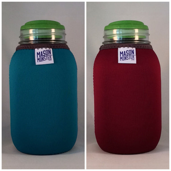 Eco Insulator™ - Quart - Reversible (Teal / Burgundy with Gray Binding & Stitching)