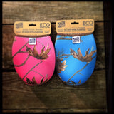 Eco Insulator™ - Quart - Reversible (Pink & Blue CAMO with Brown Binding & Stitching)