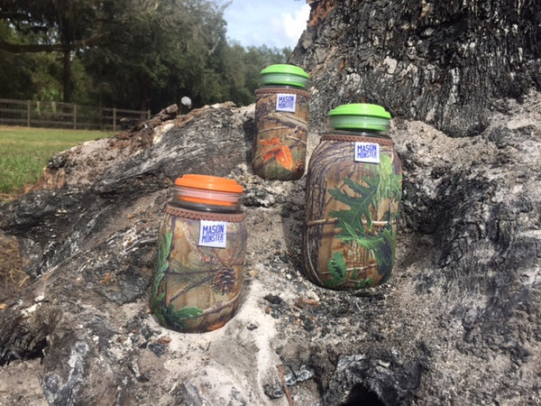 Eco Insulator™ - Pint - Reversible (Woodland & Wetland CAMO with Brown Binding & Stitching)