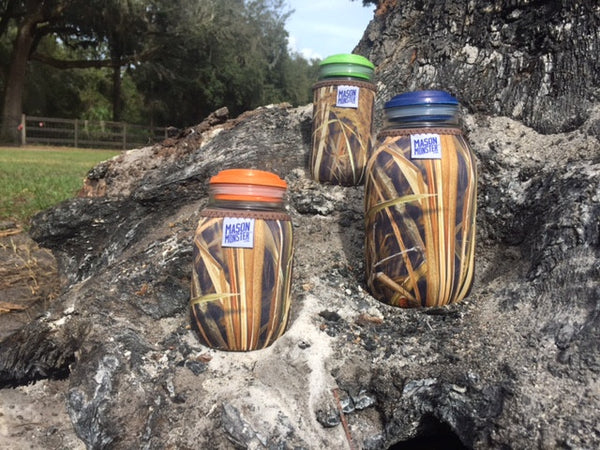 Eco Insulator™ - Jelly Jar - Reversible (Woodland & Wetland CAMO with Brown Binding & Stitching)