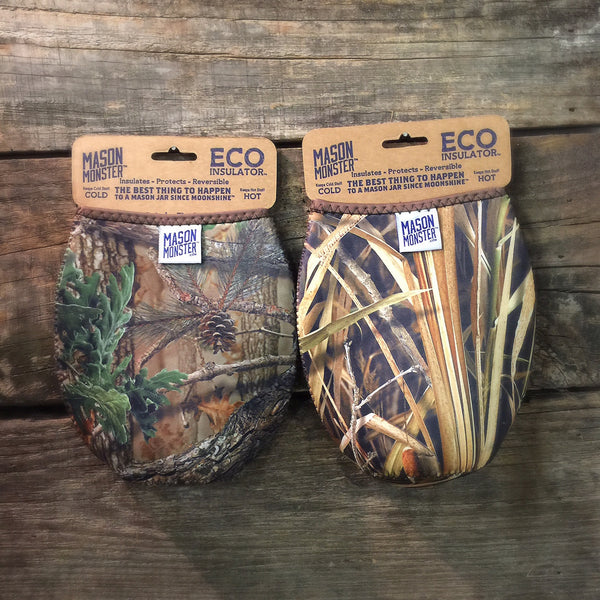 Eco Insulator™ - Quart - Reversible (Woodland & Wetland CAMO with Brown Binding & Stitching)