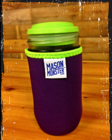 Eco Insulator™ - Jelly Jar - Reversible (Purple / Blue with Lime Green Binding & Stitching)