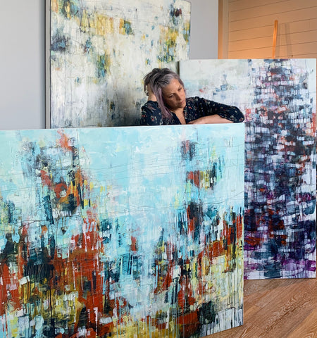 Large abstract acrylic paintings and fine artist Lori Mirabelli