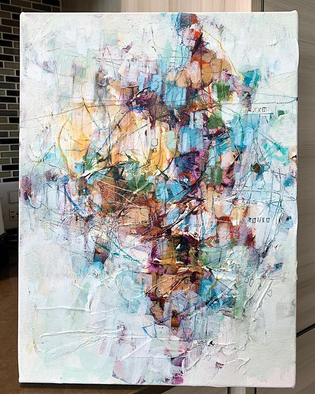 abstract artist painting on canvas