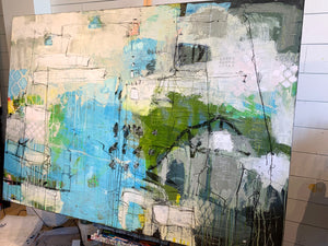 large blue and green abstract painting