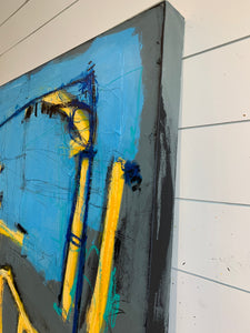 very large blue grey abstract painting