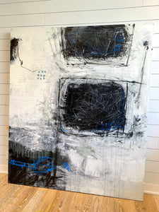 Extra large black and white painting