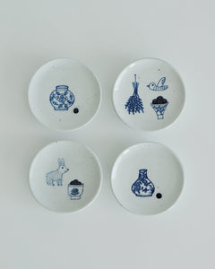 Kobaekja(古白磁) Small Dessert Plate with Drawings