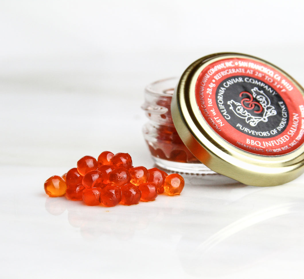 BBQ Infused Salmon Roe - Salmon roe has the biggest flavor and pop of all the roes and can be used in place or in conjunction to salmon meat. Topped on cornmeal pancakes with herbed crème fraiche or tossed in a mache salad with avocado are some of our favorite applications.