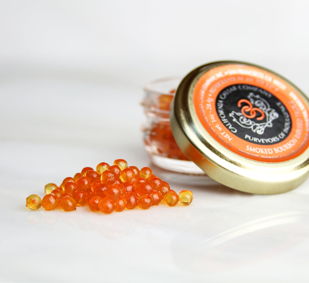 Bourbon Infused Trout Roe - The combination of bourbon with hints of smoke and caramel and the sweetness of trout roe is a perfect match. This caviar can stand up to any grilled or smoked fish.