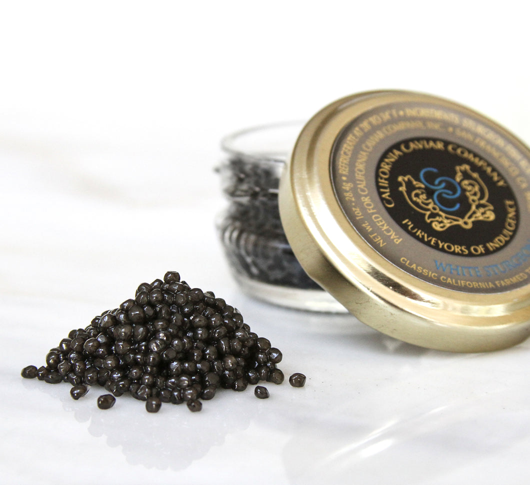 Classic White Sturgeon Caviar - This caviar has deliciously topped everything from foie gras, to braised abalone, to chocolate mousse and paired perfectly with cabernet sauvignon, beer and of course champagne.