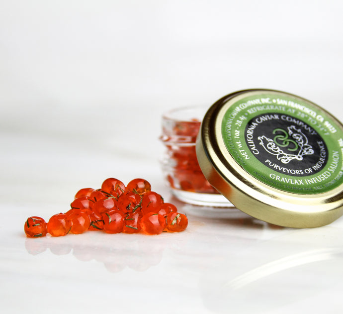 Gravlox Salmon Roe - Salmon roe has the biggest flavor and pop of all the roes and can be used in place or in conjunction with salmon meat.