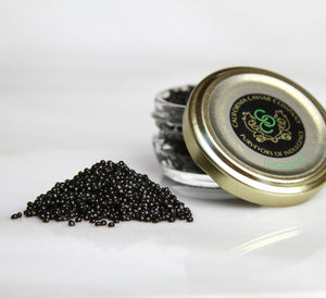 Hackleback Sturgeon Caviar - Hackleback can be used as a substitute for the pricier osetras. Its full flavor and nutty character lends itself well to anything from corn & red pepper pancakes to a burrata & brioche grilled cheese and pairs perfectly with either a glass of brut champagne or an amber ale.
