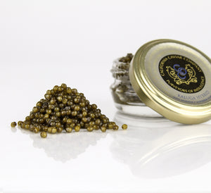 "Kaluga (Hybrid) - A perfect marriage of two sturgeon native to the Amur River basin, this beautiful farmed caviar is from the Huso Daricus and Acipenser Schrencki sturgeon, cousins to the famed Beluga. One look and you will understand why this caviar is often called the ""Amur Beluga""."