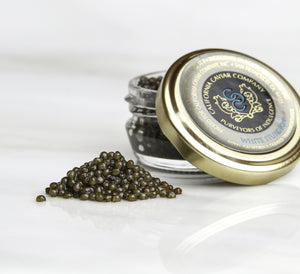 Royal White Sturgeon Caviar - This royal grade of our Osetra is hand-selected for its tawny brown to platinum color. Like all White Sturgeon Caviars – this is favorite among chefs for its versatility with food and wine pairings.