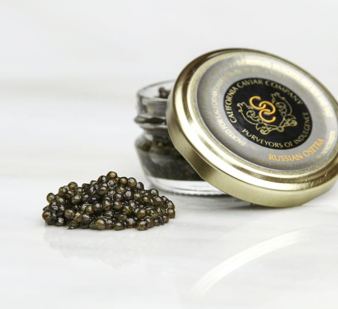 Royal Israel Osetra - This version of the legendary caviar is a must to experience. It has all of the distinctions of its wild counterpart without any of the guilt. Our sustainably sourced Russian Osetra caviar is best served simply — on a soft blini, lightly toasted brioche or straight on a pearl spoon alongside a cold glass of brut champagne.