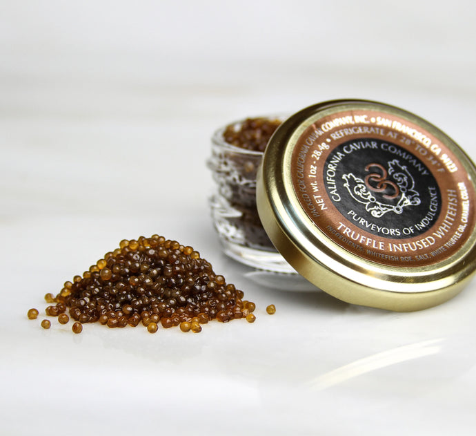 Truffle Infused Whitefish Roe - Our infused caviar line, which includes Truffle Infused Whitefish Roe, is perfect for adding another level of color and texture to your dishes.