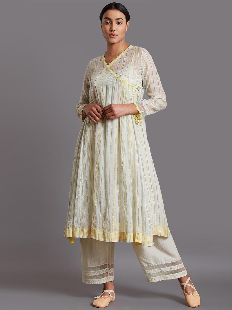 Abita Kurta Silk Cotton Blue Yellow